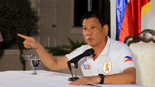 "This handout photo taken on August 21, 2016 and released by the Presidential Photographers Dividion (PPD) shows President Rodrigo R. Duterte gesturing as he speaks during a press conference at the presidential guest house in Davao City.   Duterte on August 21 threatened to pull the Philippines out of the United Nations as he ratcheted up his war of words with the global organisation over this bloody war on crime.    / AFP PHOTO / PPD / KARL ALONZO / ------EDITORS NOTE RESTRICTED TO EDITORIAL USE - MANDATORY CREDIT ""AFP PHOTO /PRESIDENTIAL PHOTOGRAPHERS DIVISION""- NO MARKETING NO ADVERTISING CAMPAIGNS - DISTRIBUTED AS A SERVICE TO CLIENTS - NO ARCHIVES-----"